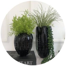 vaso de decorac a o em murano preto